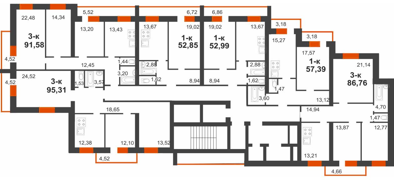 2 секция (2-7 этаж)
