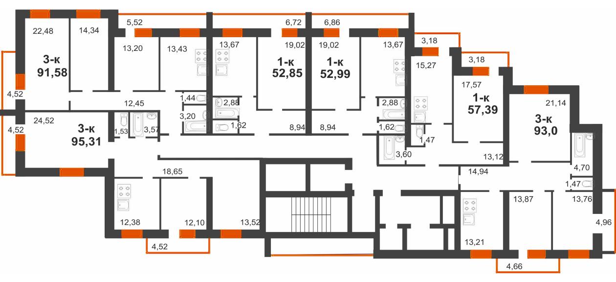 2 секция (8-12 этаж)
